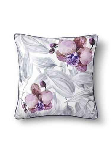 The Mia Yaprak Yastık - Beyaz Gri Çiçekli 50 x 50cm Beyaz